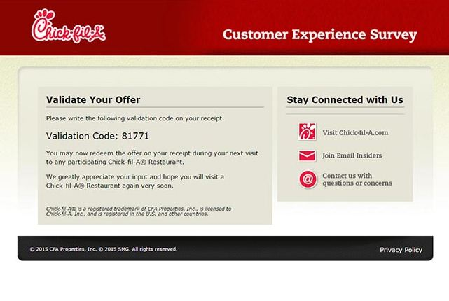 chickfila survey validation code