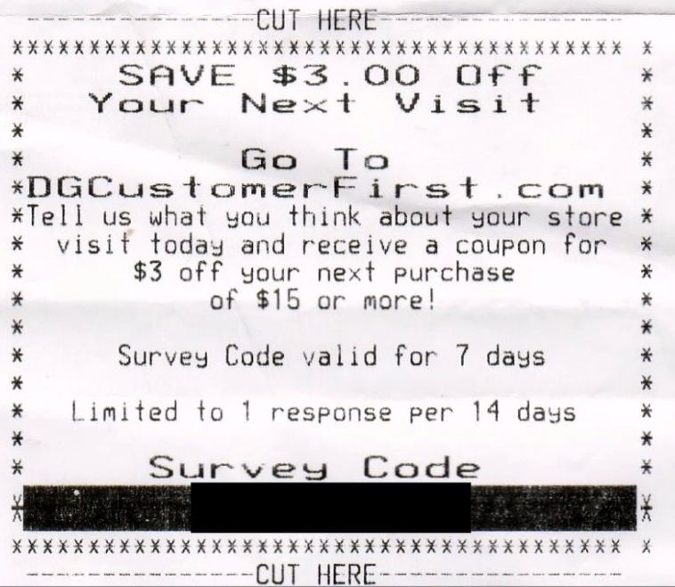 dollar general survey code