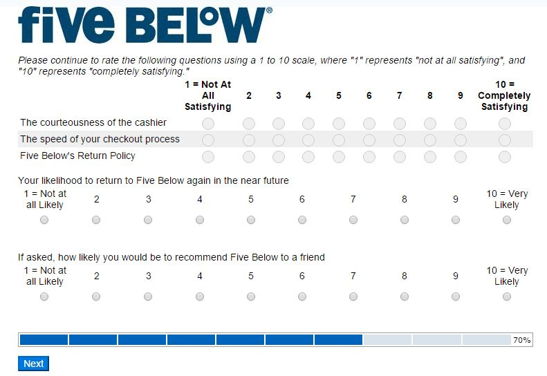 five below survey feedback