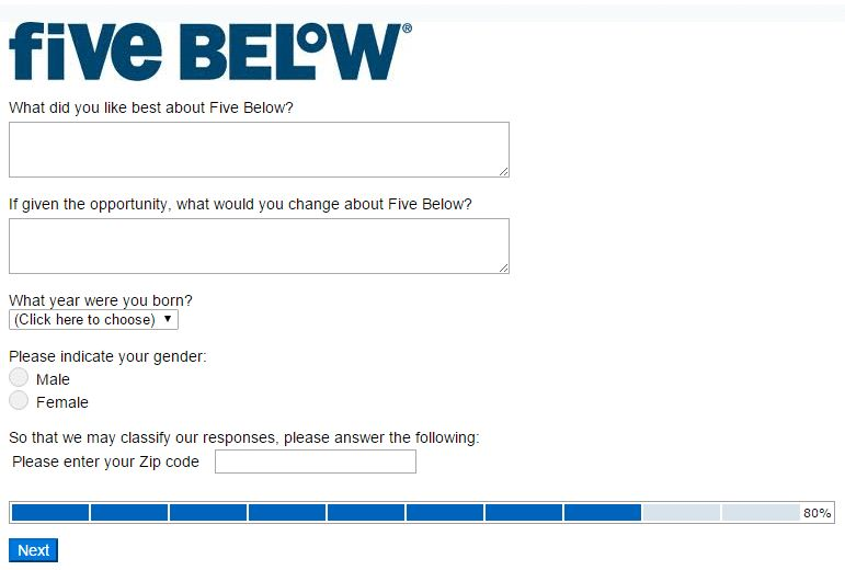 five below survey process