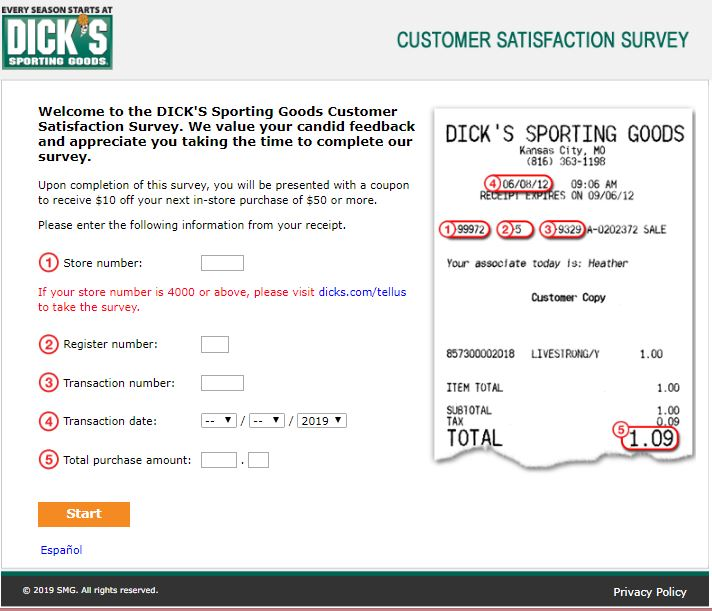 DICK'S Sporting Goods - Customer Satisfaction Survey - Welcome