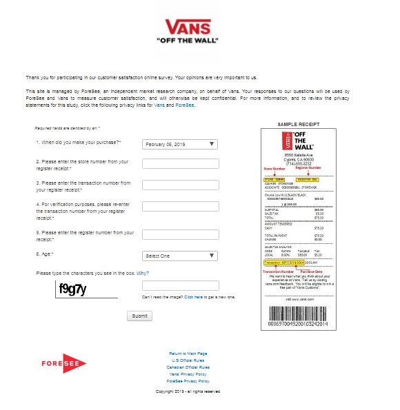 vans customer survey