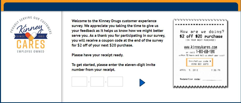 www.kinneykares.com Kinney Drugs Customer Experience Survey $2 ...