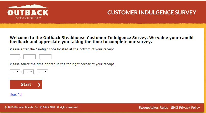 Outback Steakhouse Customer Indulgence Survey -