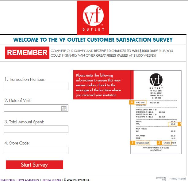 VF Outlet Feedback Survey Sweepstakes on vfoutletfeedback.com ...