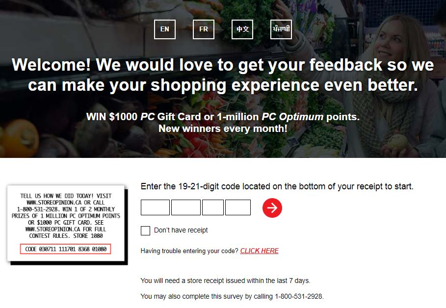 storeopinion.ca – Take Official Loblaws® Survey – Win $5,000 or $1,000