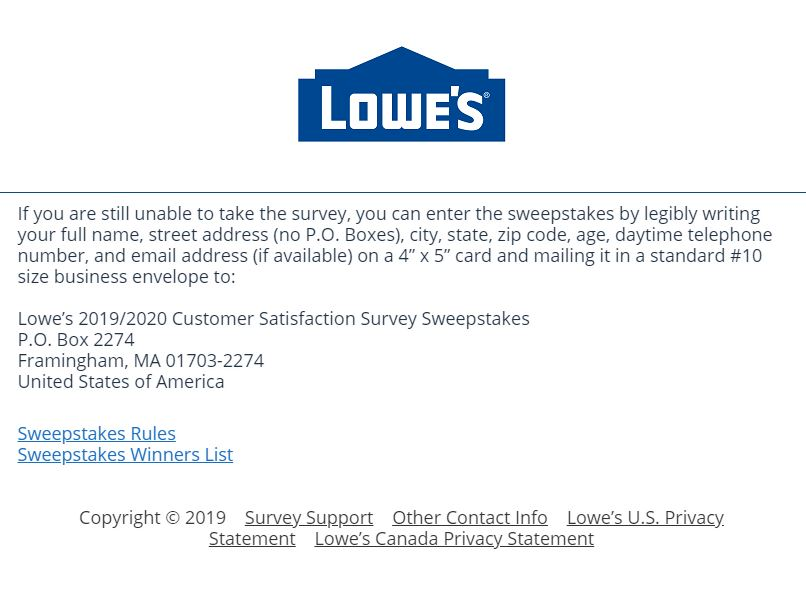 Lowes Satisfaction Survey - InformTarget Survey - Medallia