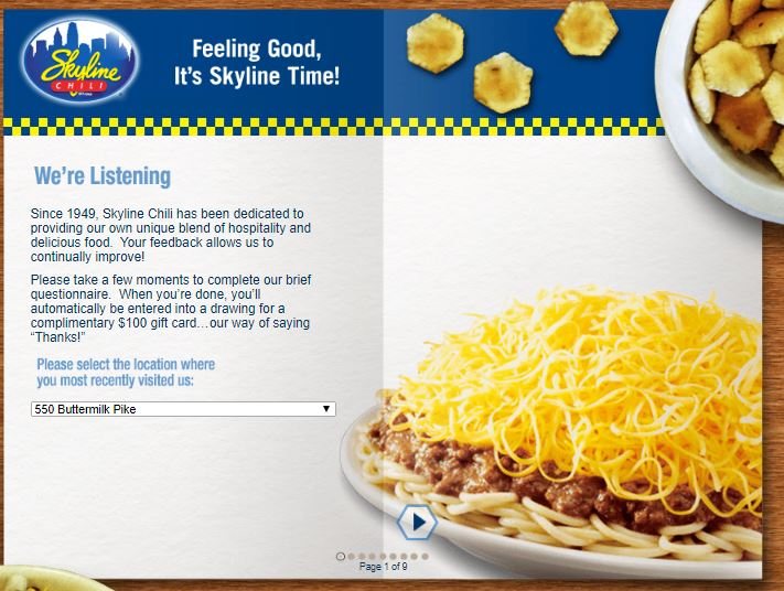 Skyline Chili Customer Dining Experience Survey