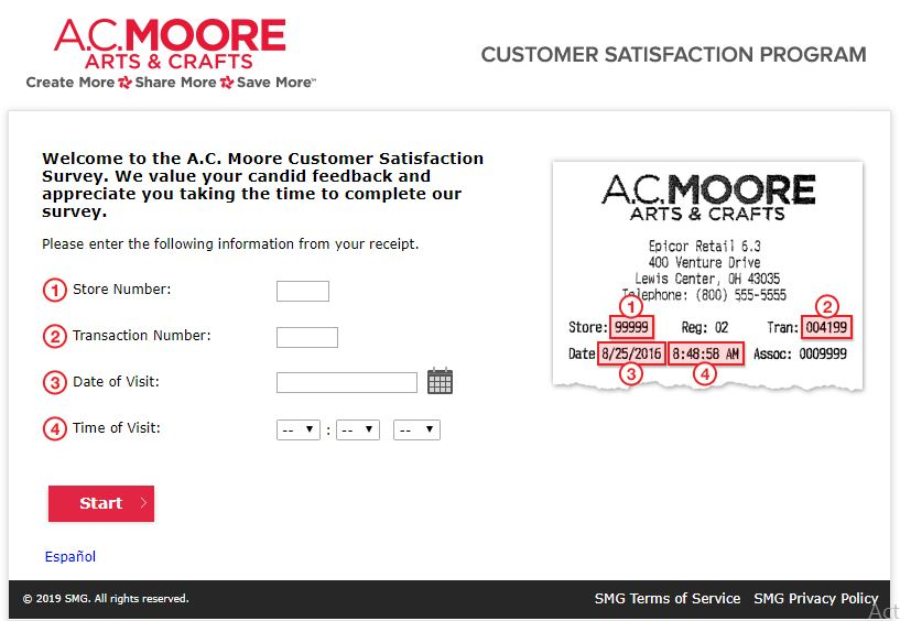 A.C. Moore Customer Satisfaction Survey At www.acmoorecares.com