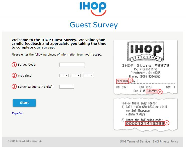 IHOP Feedback Guest Satisfaction Survey