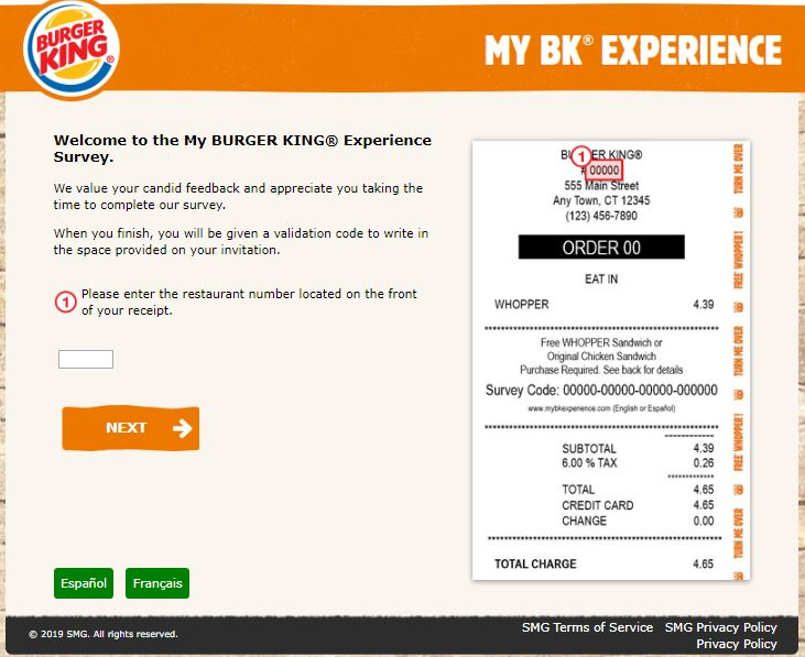 Enter Survey at My Burger King Experience - MyBKExperience