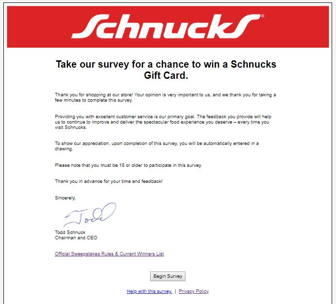 Tell Schnucks Feedback in Customer Survey to Win Gift Card ...