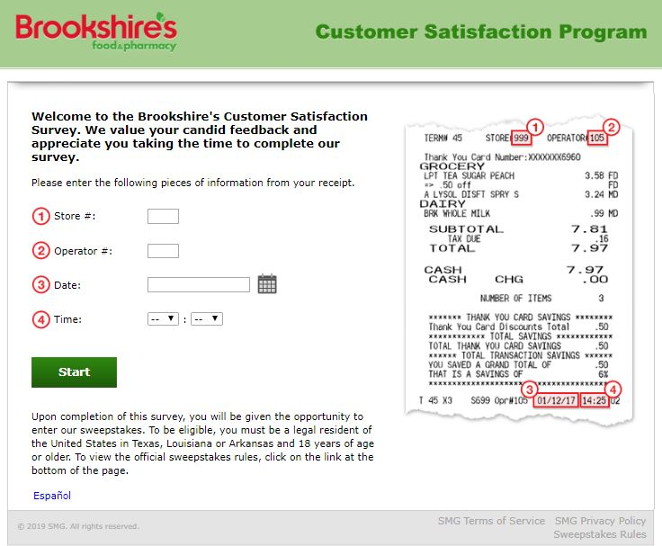 Brookshire's Customer Feedback Survey Procedure