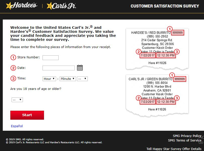 www.Tellhappystar.com – Hardee's and Carl's Jr. Receipt Survey