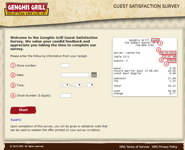Access genghisgrillsurvey.smg.com. Genghis Grill Guest Satisfaction ...
