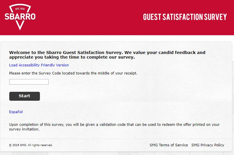 Tell Sbarro Feedback in Customer Survey and get validation code to ...