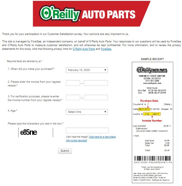 O'Reilly Auto Parts Survey